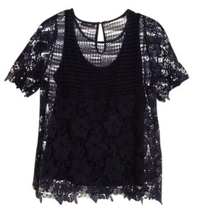 Neiman Marcus Crochet Lace Top Navy Blue