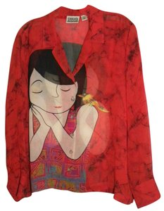 Chico's Silk Cute Bird Girl Tunic Top Red
