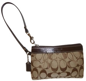 Coach Refurbished Monogram Wristlet in Brown and Tan