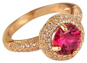 Other New Micro Pave 14k Yellow GF Lab Created Ruby Ring