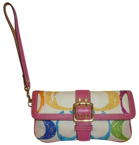 Coach Wristlet in Pink, white, yellow, blue and green