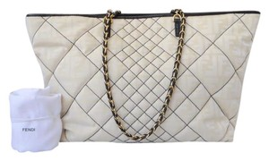 Fendi Quilted Tote in Cream