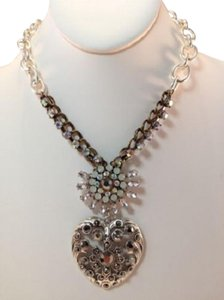 Betsey Johnson Betsey Johnson Whiteout TOC Crystal Heart Pendant Necklace
