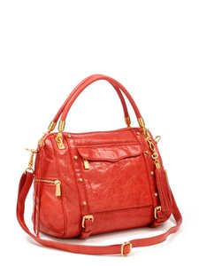 Rebecca Minkoff Leather Gold Hardware Satchel in Red