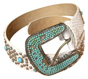 Streets Ahead White & Turquoise Studded Leather Belt
