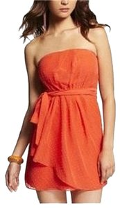 Express short dress Orange Clipdot Strapless on Tradesy