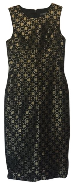 Item - Black Gold Knee Length Night Out Dress Size 4 (S)
