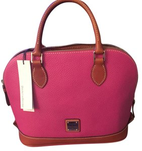 Dooney & Bourke Leather Zip Satchel in Pink