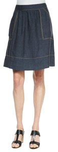 Eileen Fisher Linen Chambray Indigo Casual Skirt Denim