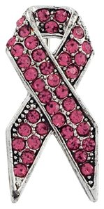 Other Silver & Pink Rhinestone Pink Ribbon Brooch