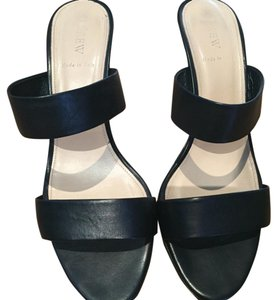 J.Crew Black Heel Basic Black, White Sandals