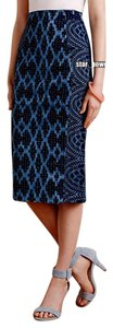 Anthropologie Stretch Denim Ethnic Print Skirt Blue