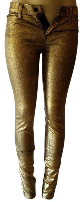 Item - Metallic Gold Coated 8011530 Skinny Jeans Size 27 (4, S)