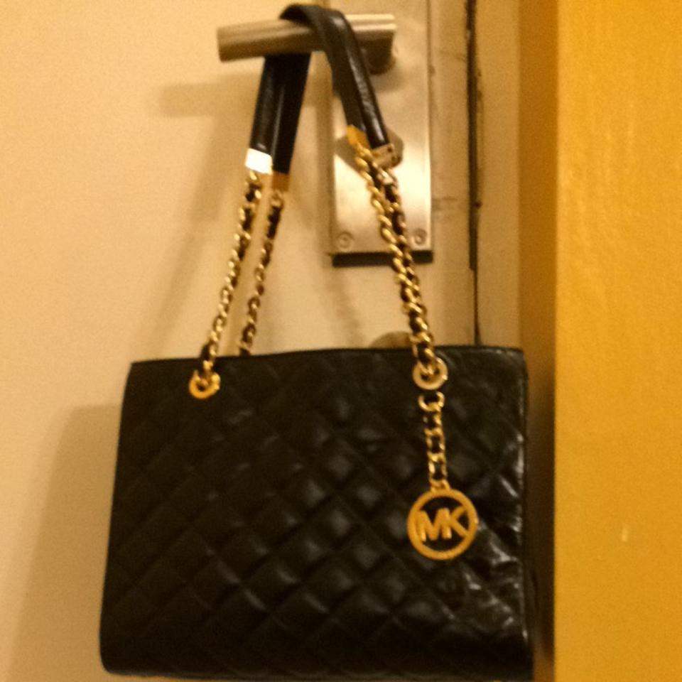 521386ab0af2 Michael Kors Susannah Medium Quilted Black and Gold Lamb Leather ...