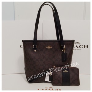 Coach Monogram Classic Tote in brown