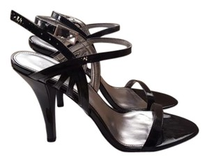 Calvin Klein Patent Leather Silver Lining Stilettos Black Sandals