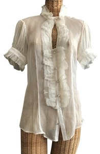 Alvin Valley Diamond Buttons Ruffled Silk Silk Button Down Shirt Ivory