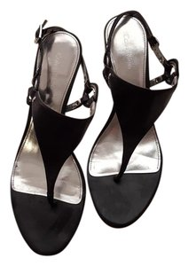 Calvin Klein Thong Soft Leather Sexy Wood Heel Silver Hardware Black Sandals