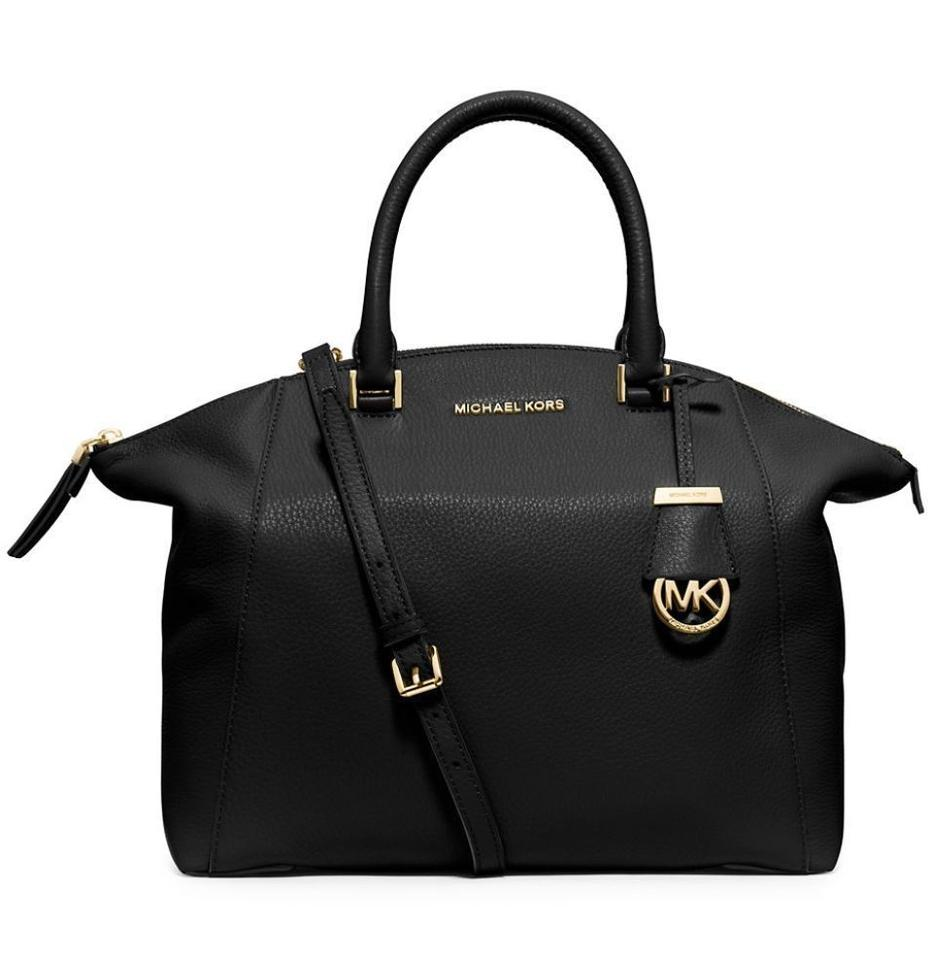 7a7187afcd54 Michael Kors Riley Medium Pebbled Purse Top Zip *nwt* Black with Gold  Hardware Leather Satchel - Tradesy