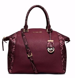 Michael Kors Mk Riley Mk Top Zip Riley Black Mk Satchel in Merlot Burgundy Red/Black snake with Gold Hardware