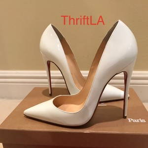 Christian Louboutin So Kate So Kate Patent White Pumps