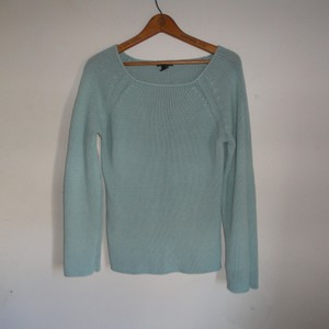 H&M Mint Blue Blue Long Sleeve Scoop Neck Sweater
