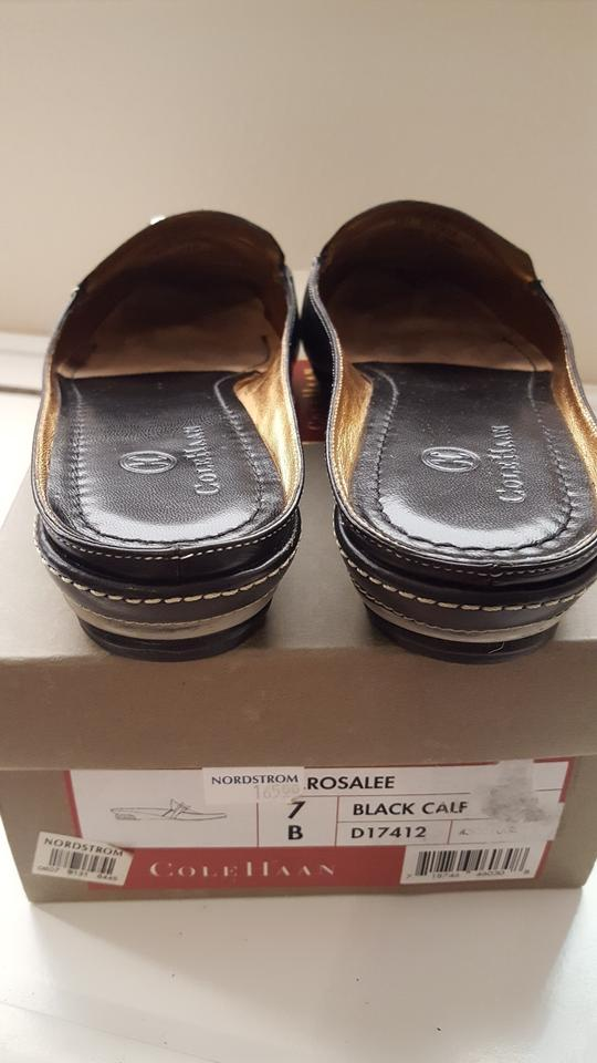 963be306c90b Cole Haan Black Nike Air Saddle Leather Mules Slip-ons B Flats Size ...