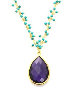 Sacred Jewels Sacred Jewels Amethyst and Turquoise Vision Necklace