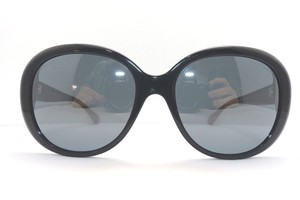 Chanel CHANEL Black Round Oval Women's Sunglasses