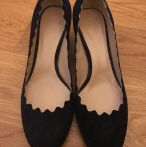 Chloé Suede Blue Scallop Scallped Navy Pumps