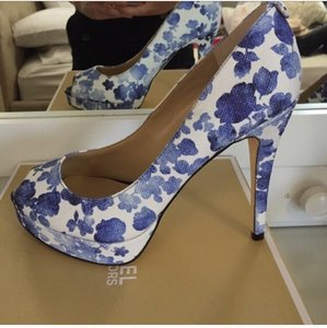 Michael Kors Blue and white floral canvas Platforms