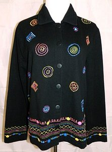 Coldwater Creek Black, Multi-Color Embroidery Jacket