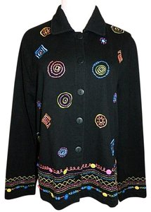 Coldwater Creek Lightweight Button Front Black, Multi-Color Embroidery Jacket