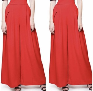Gracia Navy Stripe High Waist Wide Leg Pants Red