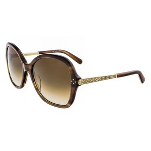 Chloé Chloe Striped Brown Oversized Rectangular sunglasses