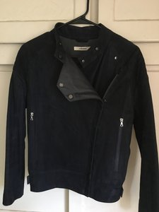 J Brand Leather Motorcycle Lambskin Navy Leather Jacket