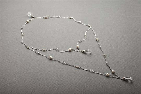 With Shimmering Teardrops with Dainty Clear Crystals Necklace