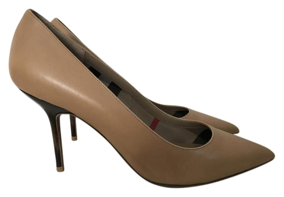 Burberry Camel 85 Mawdesley 85 Camel Leather Pointed Pumps 066bc7