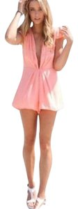 Sweet Pink Deep V-Neck Chiffon Romper Dress