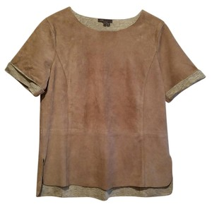 Vince Suede Casual Short Sleeve Tee T Shirt taupe