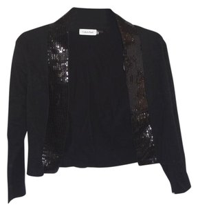 Calvin Klein Sequin Trim Shrug Cotton Blend Top black