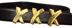 Paloma Picasso Paloma Picasso Wide Oversized X Signature Black Leather Belt