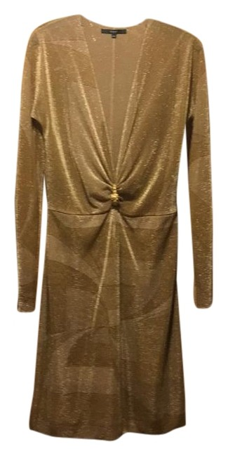 Item - Gold Knee Length Night Out Dress Size 12 (L)