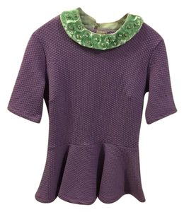 H&M Sequin Flower Rhinestones Top purple, green