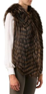 Haute Hippie 100% Fox Fur Open Front Rown Sleeveles Vest