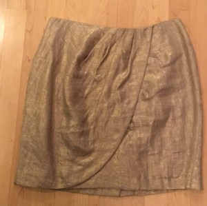 Cynthia Steffe Mini Skirt Gold herringbone linen