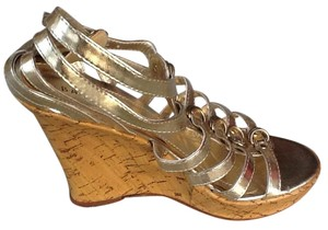 Bamboo Gladiator High Strappy Gold Wedges