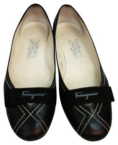 Salvatore Ferragamo Black Leather Flats
