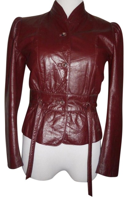Item - Brown Leather Ladies Leather Size:6. Made In Korea. Jacket Size 6-s