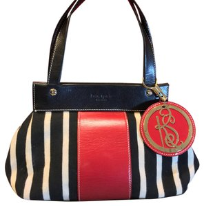 Kate Spade Satchel in Striped White Black And Red